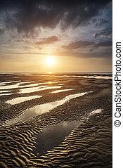 bonito, dourado, verão, vibrante, sobre, praia ocaso, paisagem