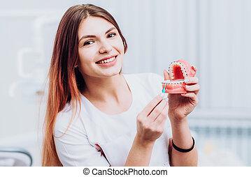bonito, doutor, como, orthodontist, dentes, tu, mostra, seu, cuidado