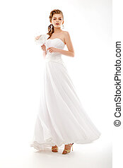 bonito, dress., buquet, bride., retrato casamento, flores