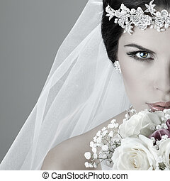 bonito, dress., decoração, bride., retrato casamento