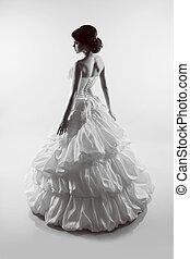 bonito, dress., foto, magnífico, noiva, pretas, retrato casamento, branca