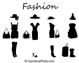 bonito, dress., illustration., &, vetorial, moda, pretas, white.