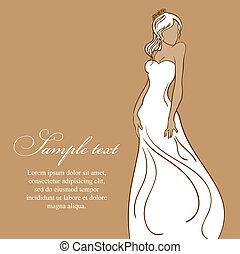 bonito, dress., ilustração, noiva, vetorial, branca