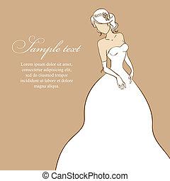 bonito, dress., ilustração, noiva, vetorial, casório, branca
