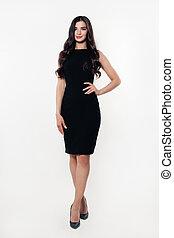 bonito, dress., mulher jovem, pretas, modelo, moda