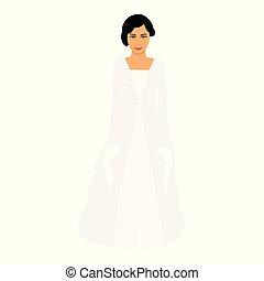 bonito, dress., noiva, moda, branca, menina