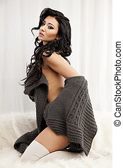 bonito, e, excitado, mulher, em, suéter