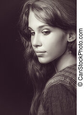 bonito, e, sensual, mulher jovem