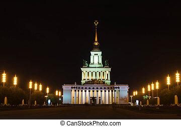 bonito, edifício histórico, em, a, noturna