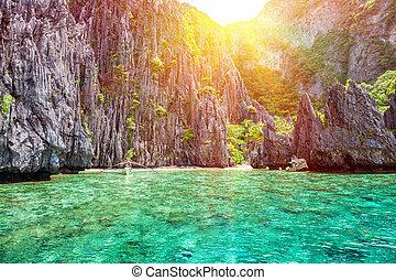 bonito, el, filipinas, paisagem, nido