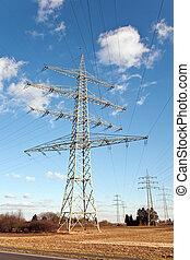 bonito, electricidade, energia, torre, paisagem