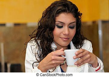bonito, elegante, café, mulher, copo