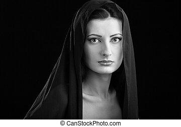 bonito, elegante, mantô, retrato mulher