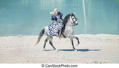 bonito, elegante, senhora, ligado, a, cavalo