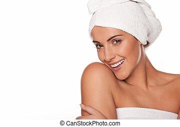 bonito, embrulhado, mulher, toalhas, banho