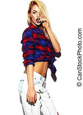 bonito, engraçado, look.glamor, moda, verão, jovem, alto, pano, luminoso, mulher, hipster, loura, elegante, excitado, modelo