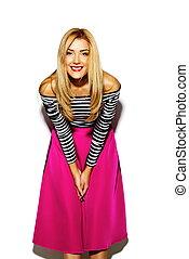 bonito, engraçado, loucos, mulher, glamor, modelo, jovem, cor-de-rosa, estúdio, loura, elegante, hipster, excitado, sorrindo, roupas