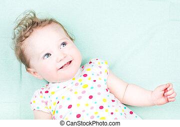 bonito, engraçado, olhos, azul, bebê