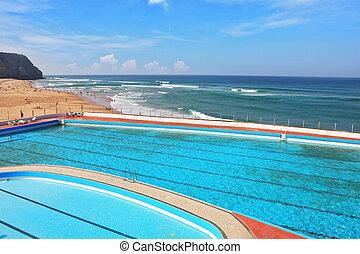 bonito, enorme, atlântico, piscina, costa