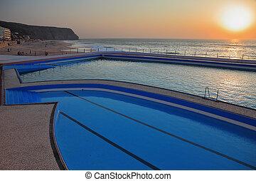 bonito, enorme, costa, atlântico, praia, piscina