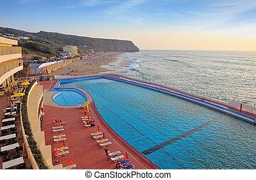bonito, enorme, praia, piscina
