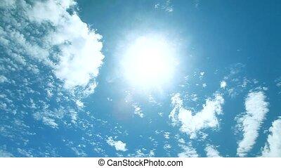 bonito, ensolarado, céu, lapso tempo