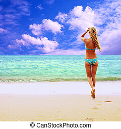 bonito, ensolarado, jovem, tropicais, biquíni, praia,...