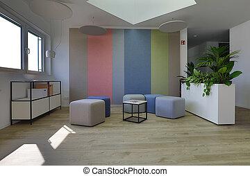 bonito, entrada, modernos, escritório, chão, lá, área