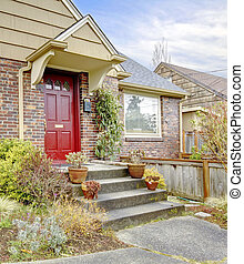 bonito, entrada, porta, casa, tijolo, vermelho