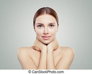 bonito, envelhecimento, mulher, saudável, concept., skin., rosto, tratamento, anti, facial, pele, levantamento, cuidado
