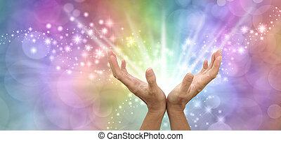bonito, enviando, luz, energia, poderoso, cura, branco