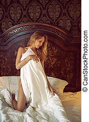 bonito, esbelto, cobertor, colchas, menina, branca