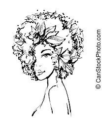 bonito, esboço, moda, mulher, face., jovem, ilustração, leaves., s, vetorial, pretas, imitação, tinta, menina, flores, branca