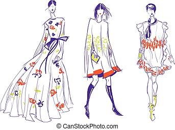 bonito, esboço, moda, três mulheres