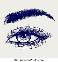 bonito, esboço, olho, caneta, femininas