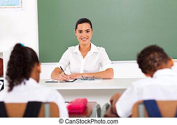 bonito, escola, primário, professor feminino