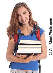 bonito, escola secundária, menina adolescente, em, educação