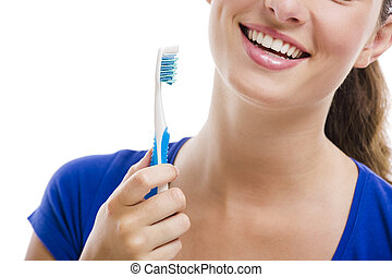 bonito, escova de dentes, mulher