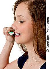 bonito, escovar, adolescente, mulher, dentes