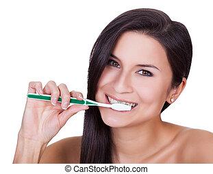 bonito, escovar, mulher, dela, dentes