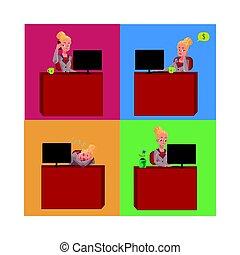bonito, escritório, sentando, executiva, jovem, escrivaninha