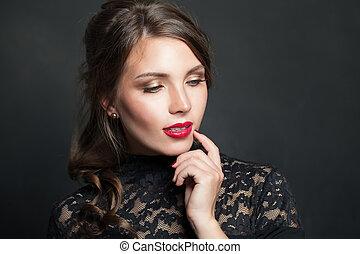 bonito, escuro, mulher, maquilagem, cabelo, lábios, fundo, retrato, vermelho