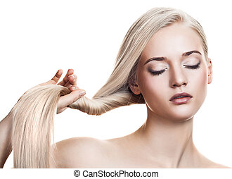 bonito, espaço, saudável, texto, longo, girl., hair., loiro