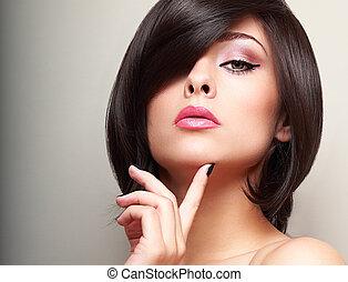 bonito, estilo cabelo, shortinho, face., maquilagem, olhar,...