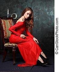 bonito, estilo, lady., arte, vindima, jovem, retro, deslumbrante, retrato, woman., multa, foto