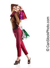 bonito, estilo, moda, tiro, shopping, maquilagem, penteado, estúdio, profissional, menina, bag.