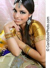 bonito, estilo, morena, indianas, tradicional, moda