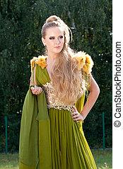 bonito, estilo, mulher, antigas, vestido verde
