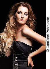bonito, estilo, mulher, cacheados, jovem, cabelo, felpudo, retrato