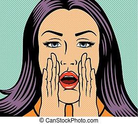 bonito, estilo, mulher, loud), (shouting, ilustração, chamando, alguém, vetorial, arte pnf